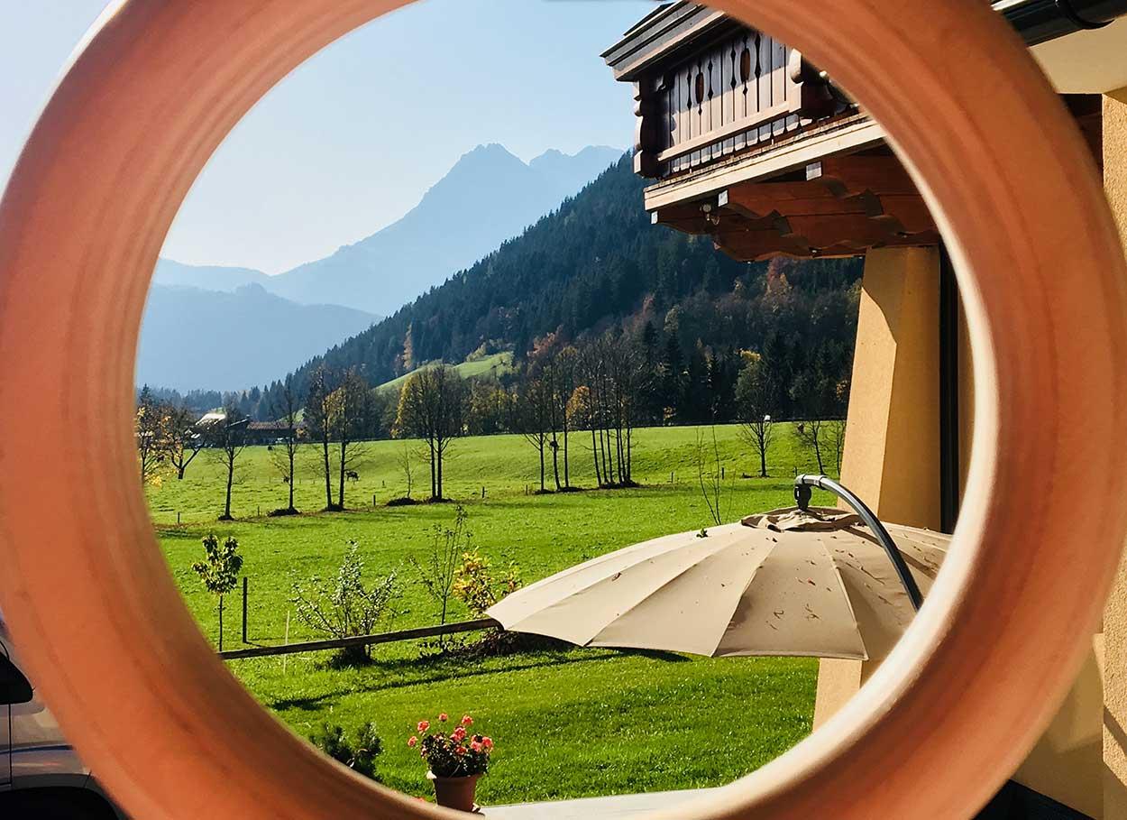 Aussicht aus dem Appartement Oberlehengut in Werfenweng - auf die Salzburger BErge