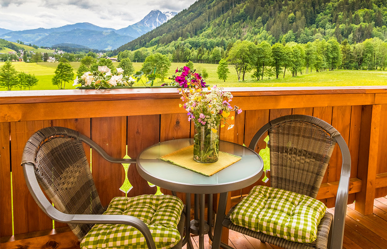 Alpenappartement Oberlehengut in Werfenweng Traumausblick in die Berge in absoluter Ruhelage