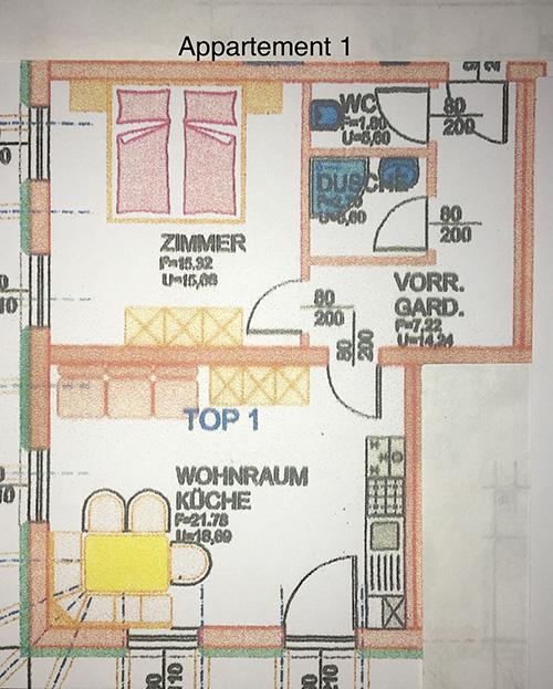 Appartement - der Plan/ Grundriss der Ferienwohnung in Werfenweng - Oberlehengut