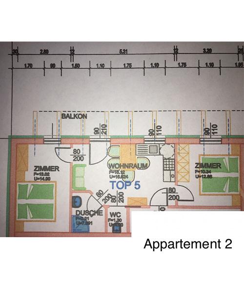Plan - Grundrisszeichnung des Appartements Oberlehengut in Werfenweng - zeigt die Aufteilung der Ferienwohnung
