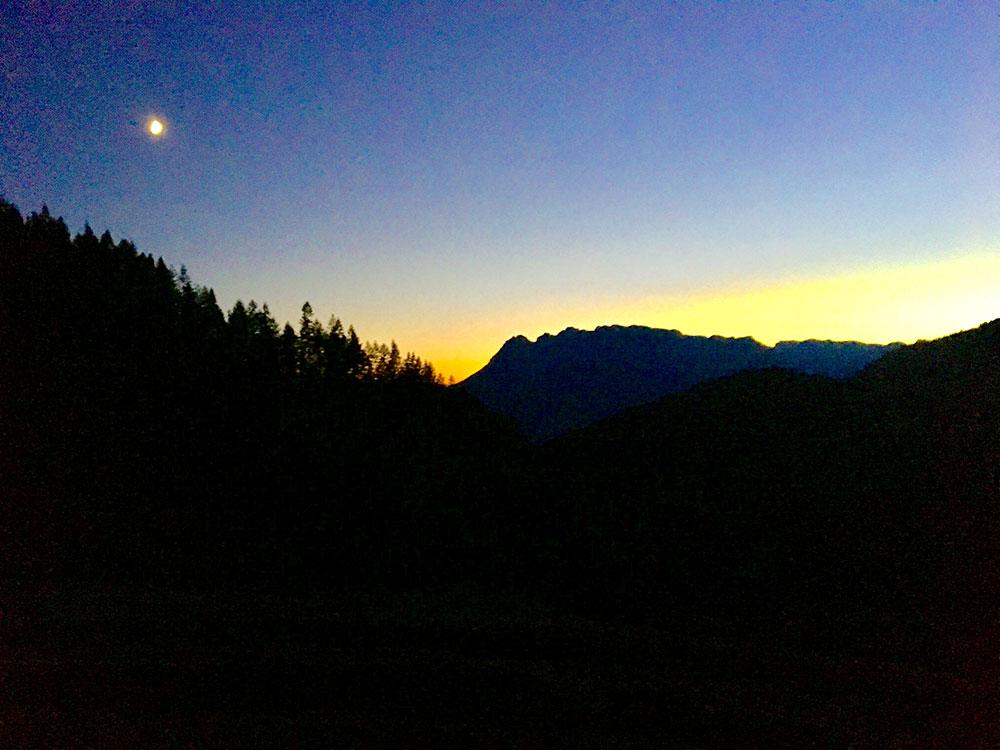 Sonnenuntergang in den Bergen von Werfenweng - fotografiert vom Oberlehengut aus